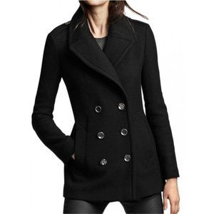 Guess Wool Double Breasted Black Pea Coat Sz XL